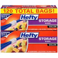 120 Hefty Slider Plastic Food Storage Bags