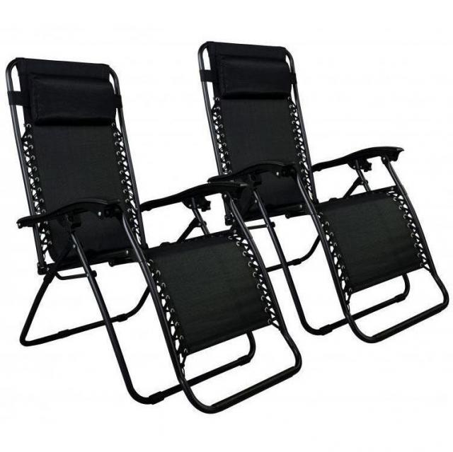 2 Zero Gravity Chairs Black Lounge Patio Chairs for $39.99