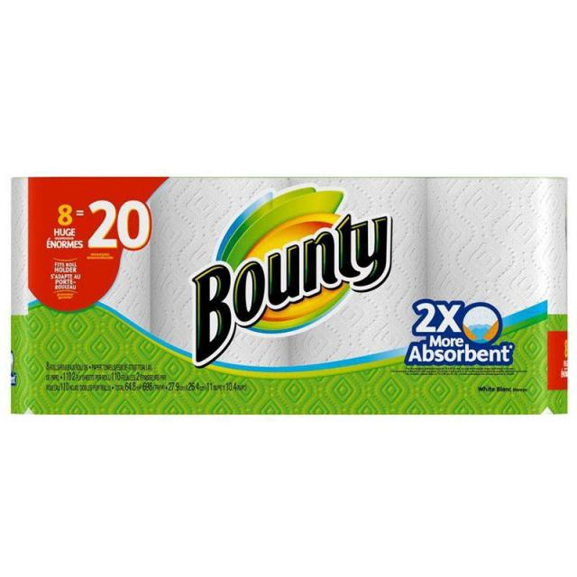 8 Bounty White Paper Towels for $12.88
