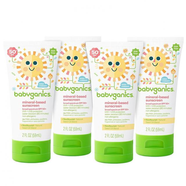 4 Babyganics Mineral-Based SPF 50 Sunscreen Lotions for $6.66