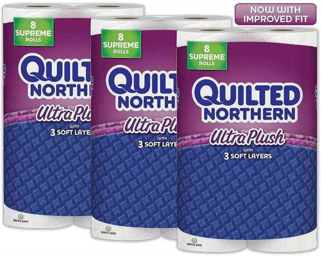 24 Quilted Northern Ultra Plush Toilet Paper Rolls for $18.19