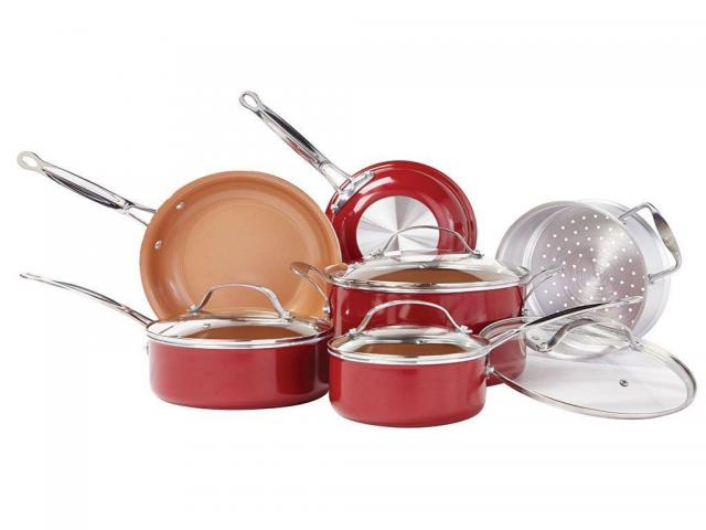 Red Copper 10-Piece Ceramic Cookware Set for $74.99