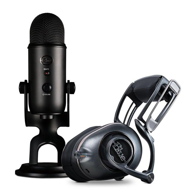 Blue Yeti Blackout Mic + Mo-Fi Powered High-Fidelity Headphones for $139.99