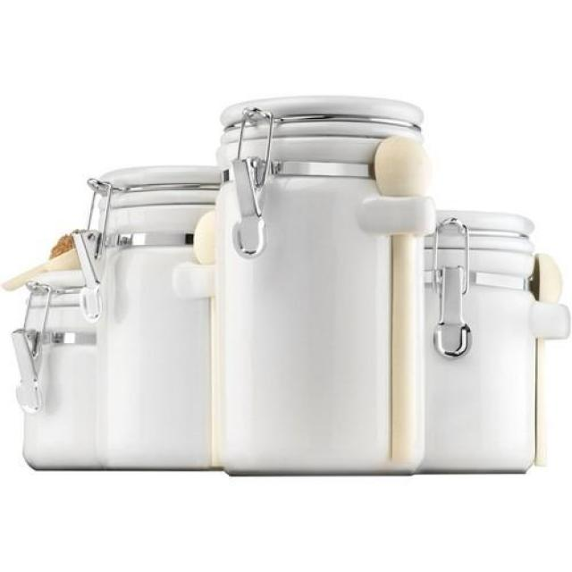 Anchor Hocking 4-Piece White Ceramic Canister Set for $11.25