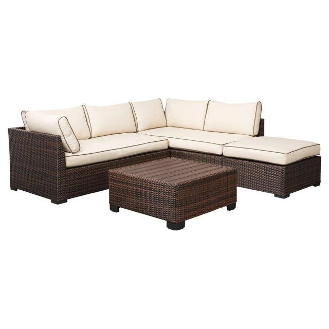 Ashley Loughran Outdoor Sectional Loveseat Table Set for $524.99