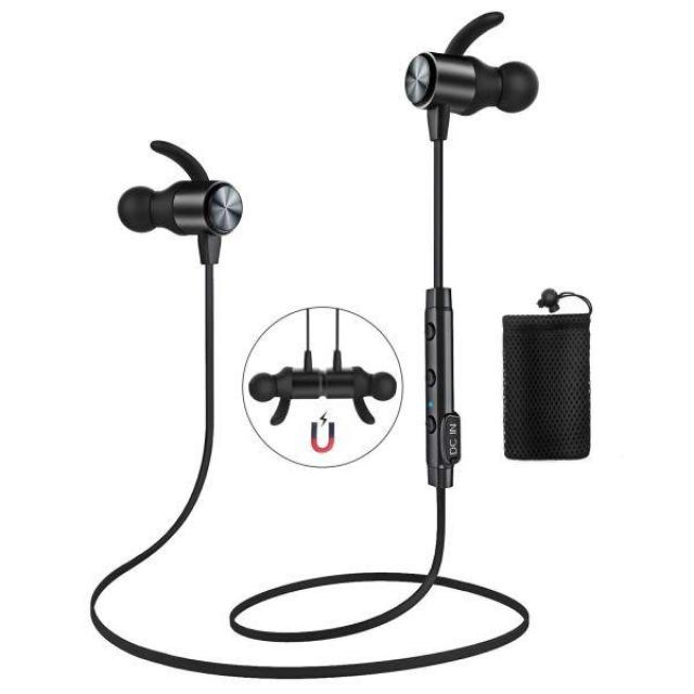 Magnetic Bluetooth 4.1 Water Resistant Headphones with Mic for $6.47