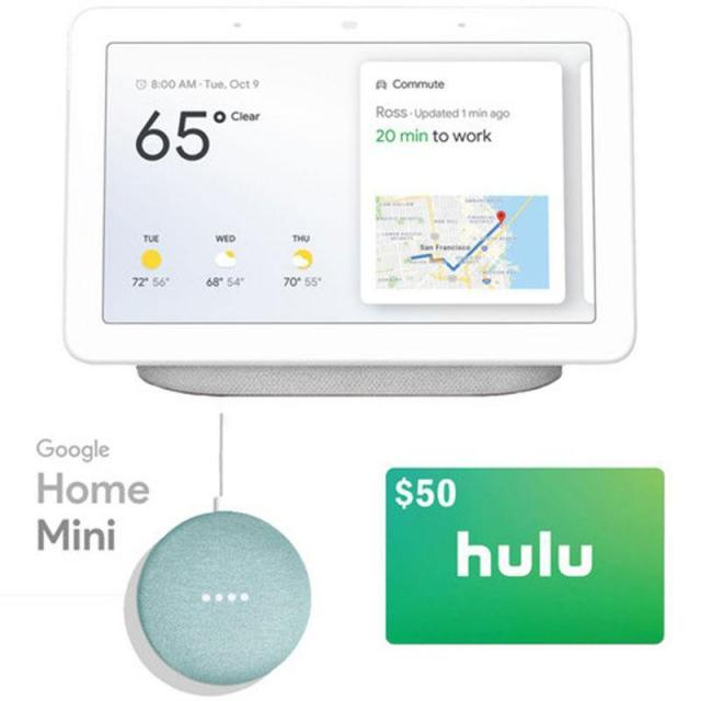 Google Home Hub with Mini and $50 Hulu Gift Card for $129