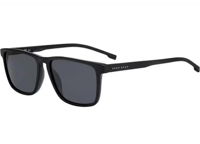 Hugo Boss Crystal Black Square Hybrid Sunglasses for $46