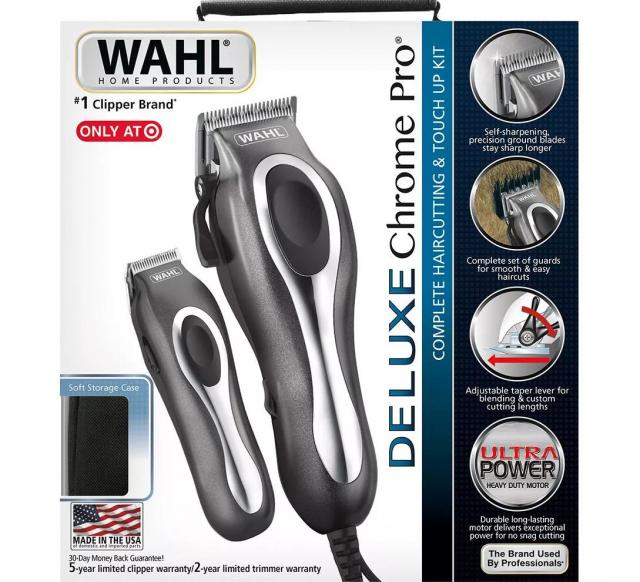 Wahl Deluxe Chrome Pro Complete Mens Haircut Kit for $24.49
