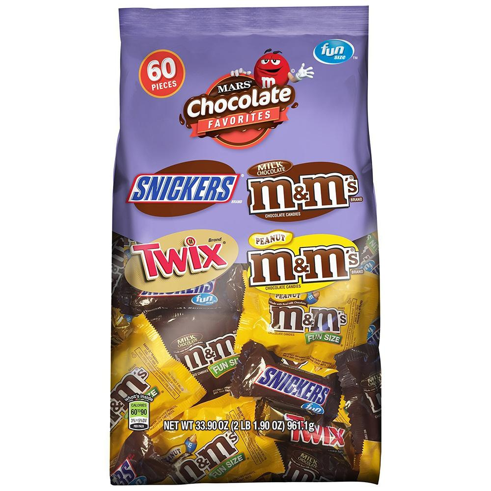 60 Mars Chocolate Favorites Fun Size Candy Bars
