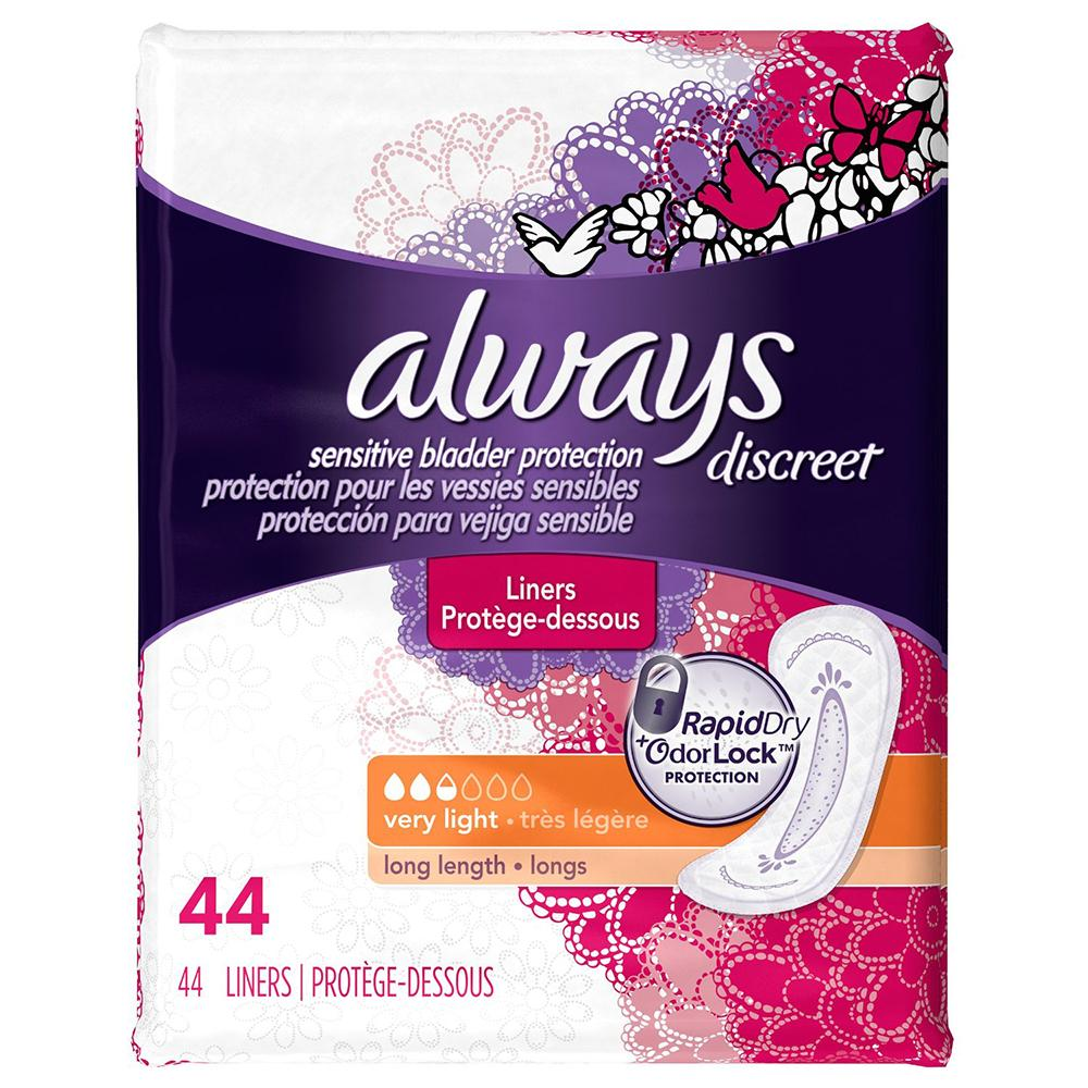 44 Always Discreet Incontinence Liners