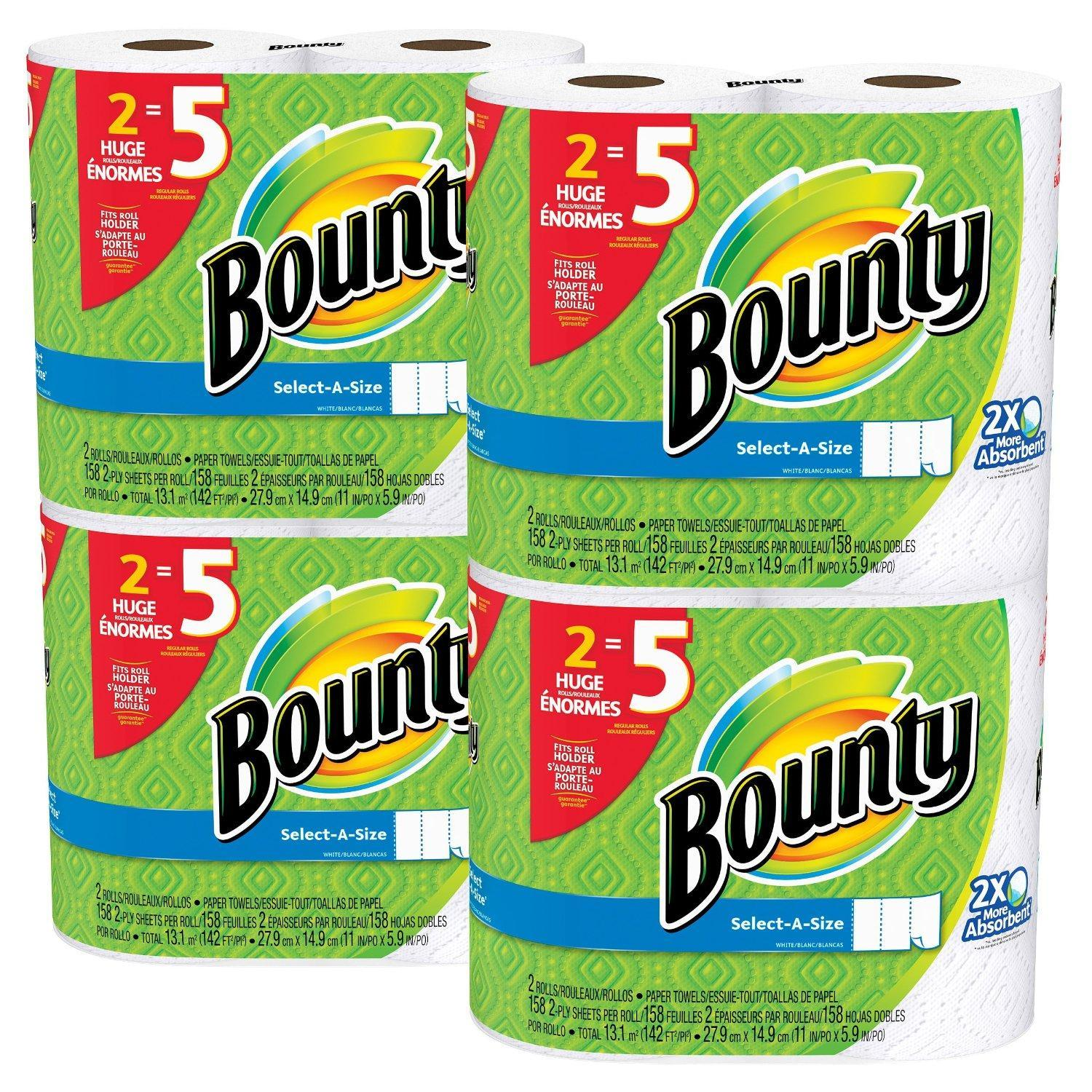 8 Bounty Huge Roll Select-a-Size Paper Towels