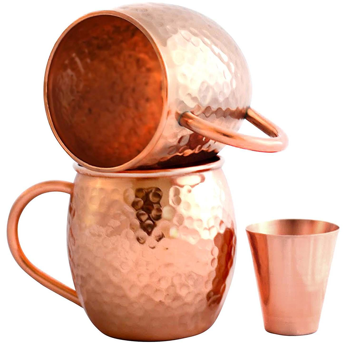2 Moscow Mule Copper Mugs with Shot Glass