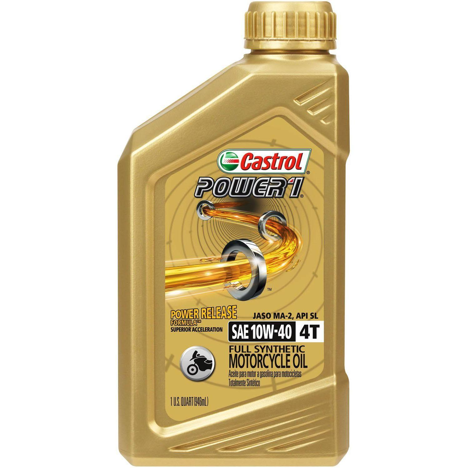 6Qt Castrol Power1 10W-40 Synthetic Motorcycle Oil