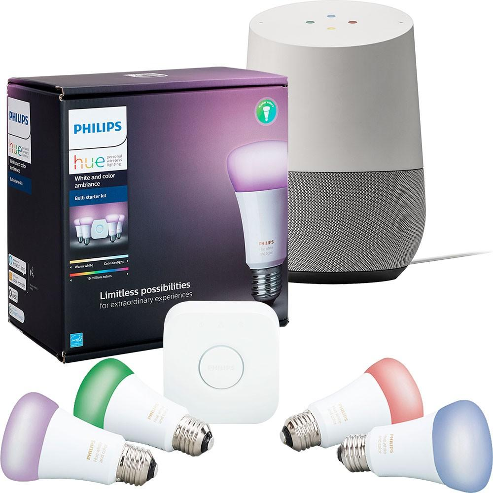 Google Home with Philips Hue A19 Starter Kit and Chromecast for $208.99 Shipped