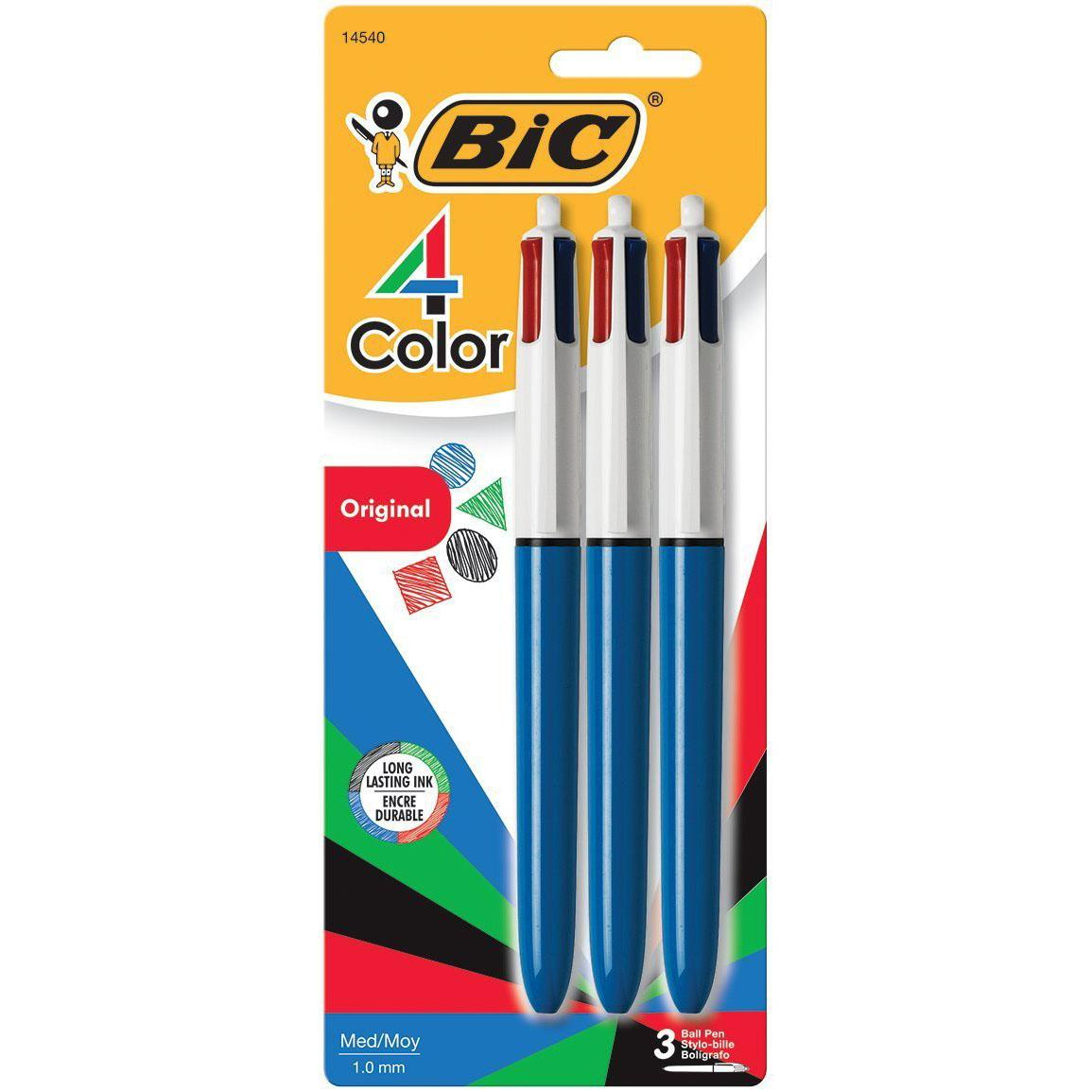 3 Bic 4-Color Ball Pens