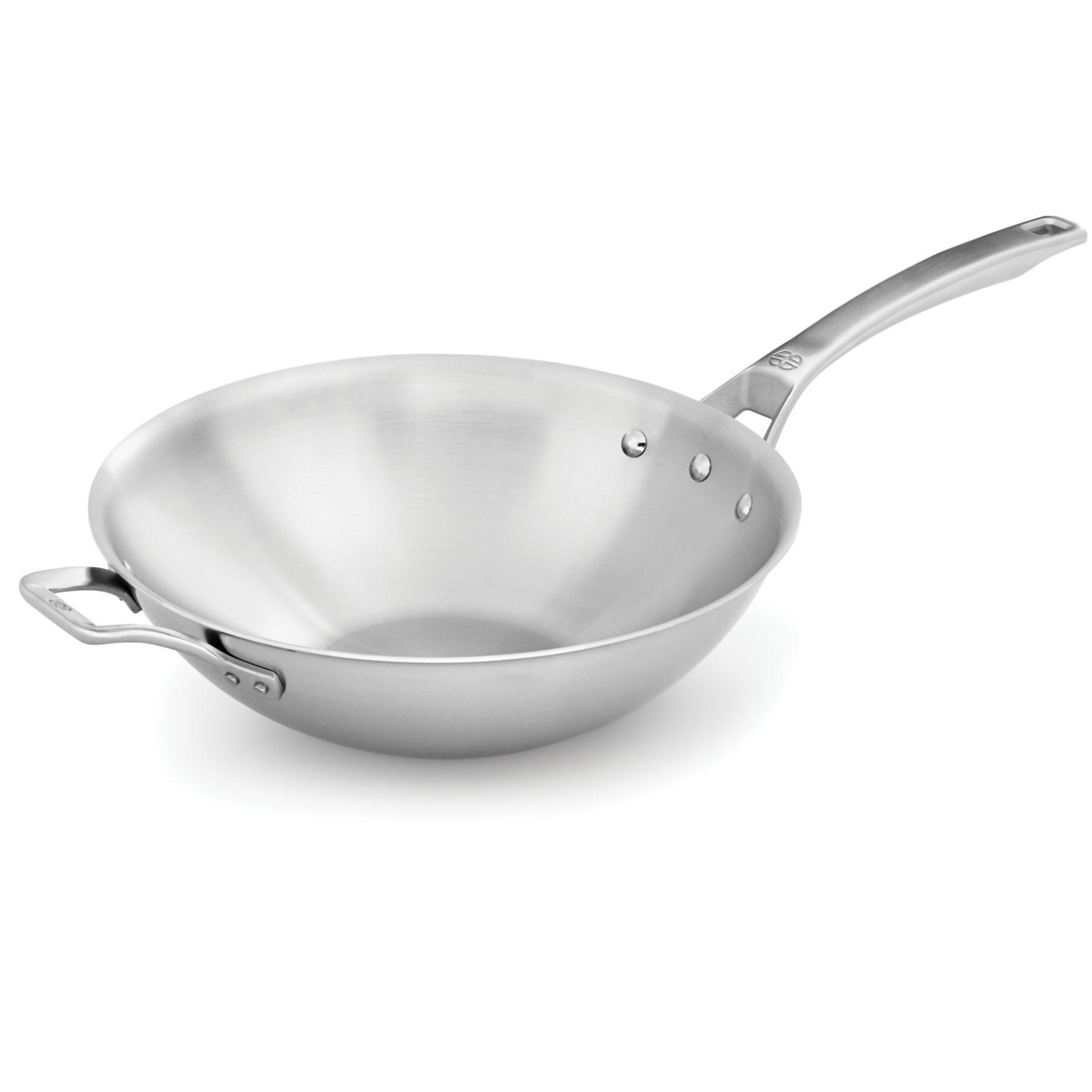 Calphalon 12in Signature Stainless Steel Flat-Bottom Wok