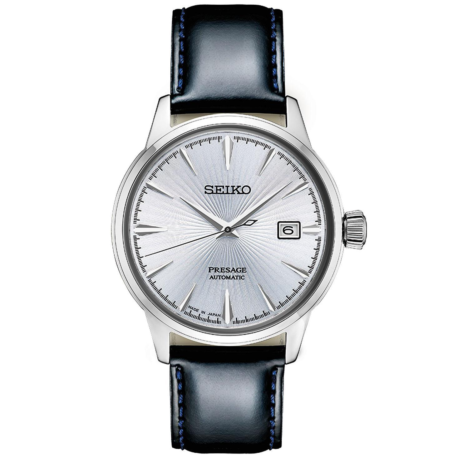 Seiko Mens Presage Automatic Watch with Black Leather Strap