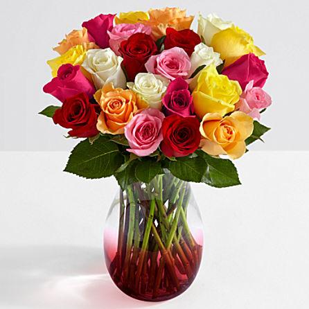 Two Dozen Colorful Roses with Vase Delivered