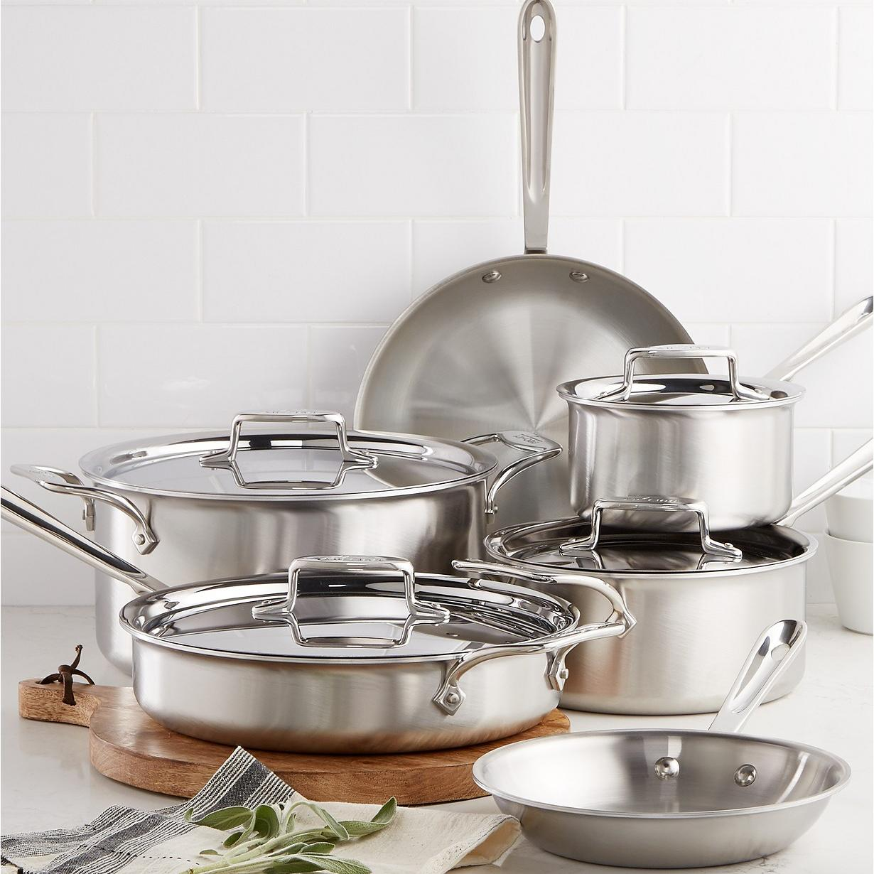 10-Piece All-Clad D5 Stainless Steel Cookware Set with Pot Holder