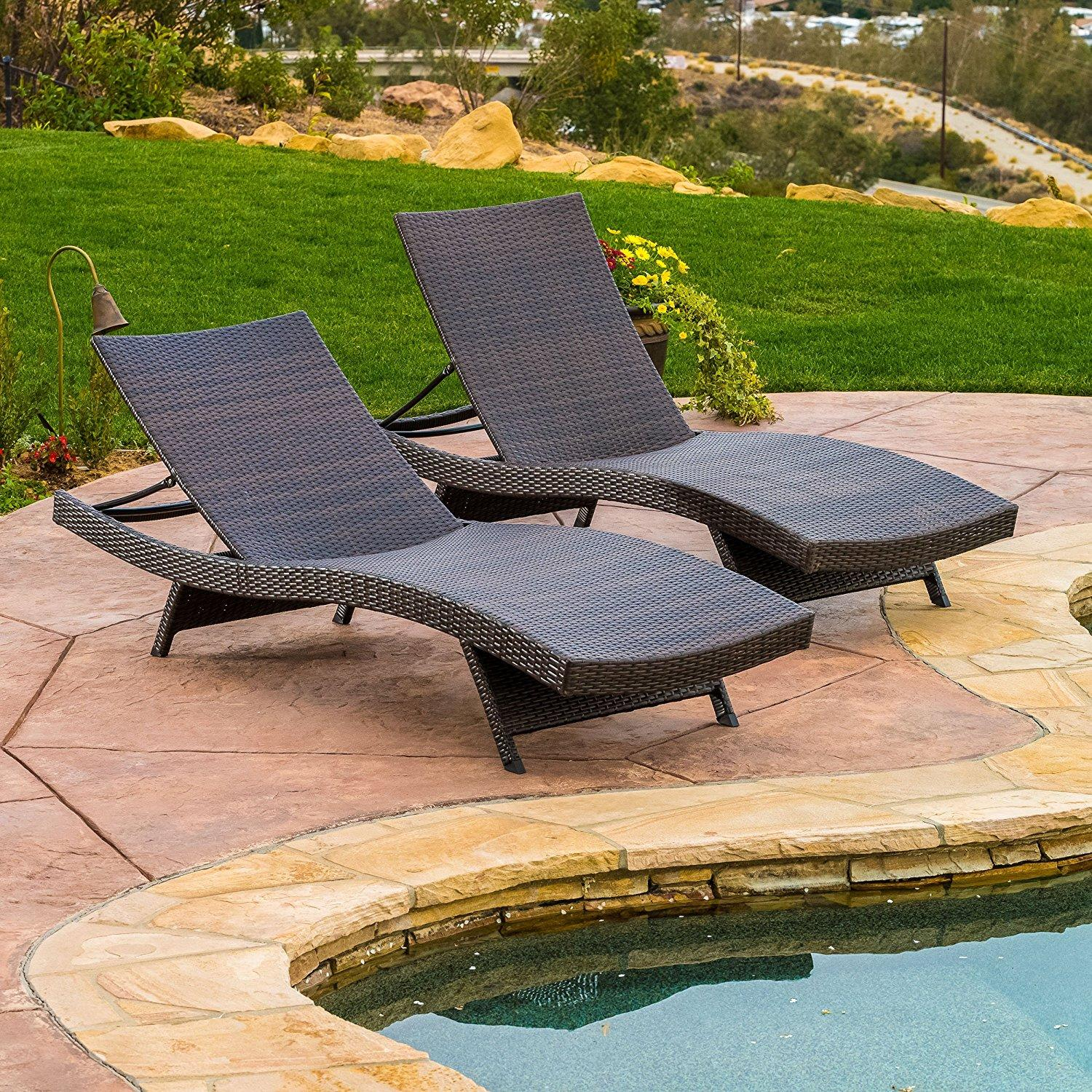 2x Christopher Knight Outdoor Adjustable Chaise Lounge Chair