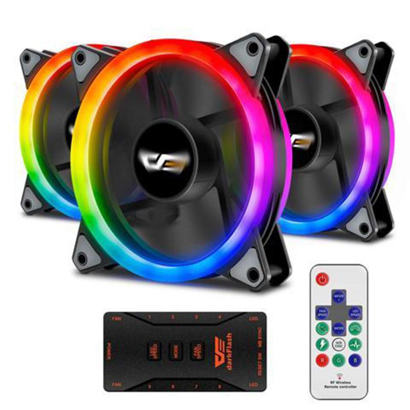 DarkFlash Aurora DR12 3-in-1 PRO 120mm RGB LED Case Fan Kit