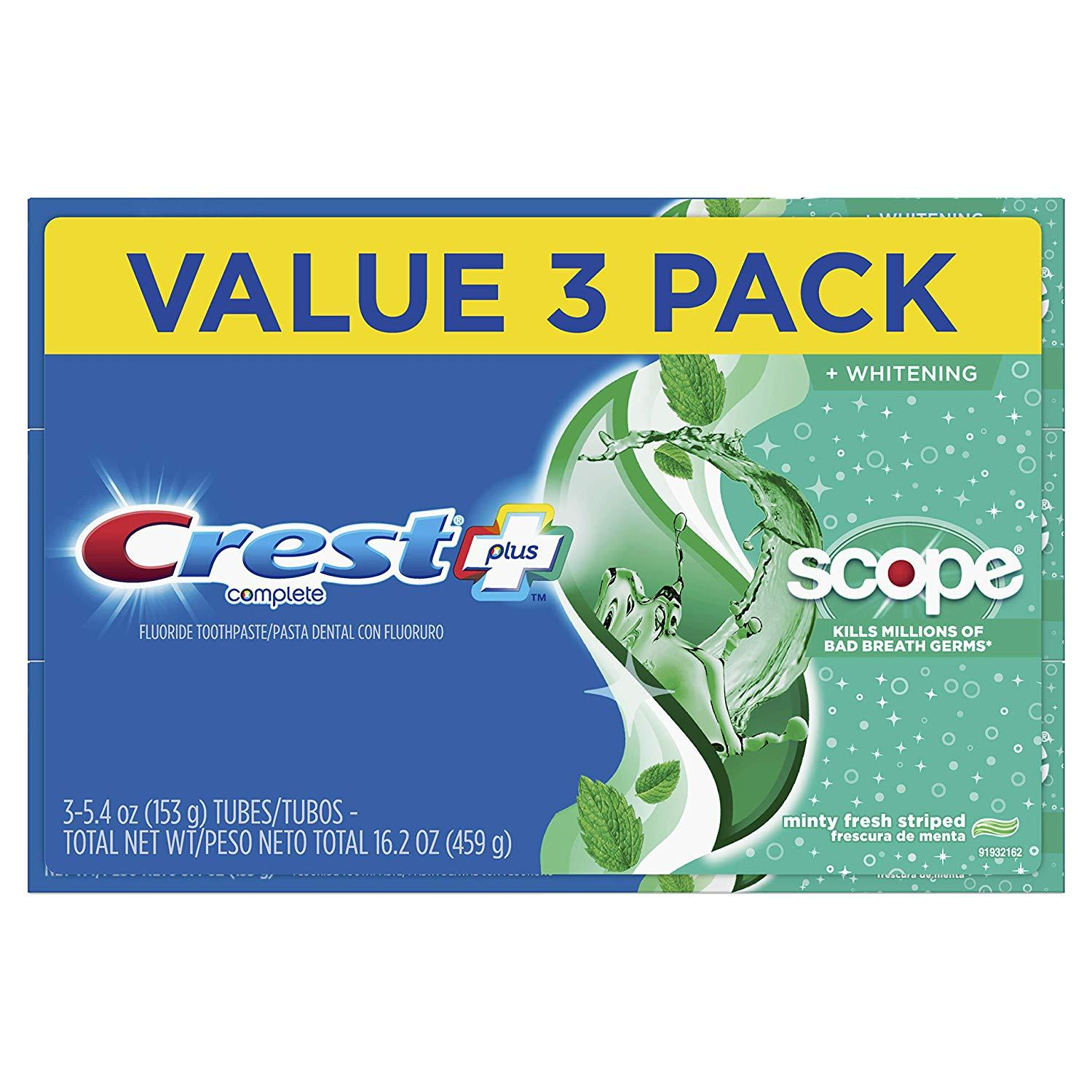 3 Crest Complete Whitening Plus Scope Toothpaste for $4.97