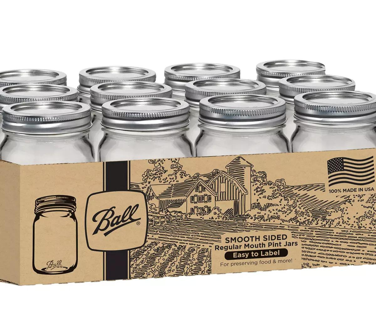 12 Ball Pint Smooth Sided Regular Mouth Canning Jars for $6.39