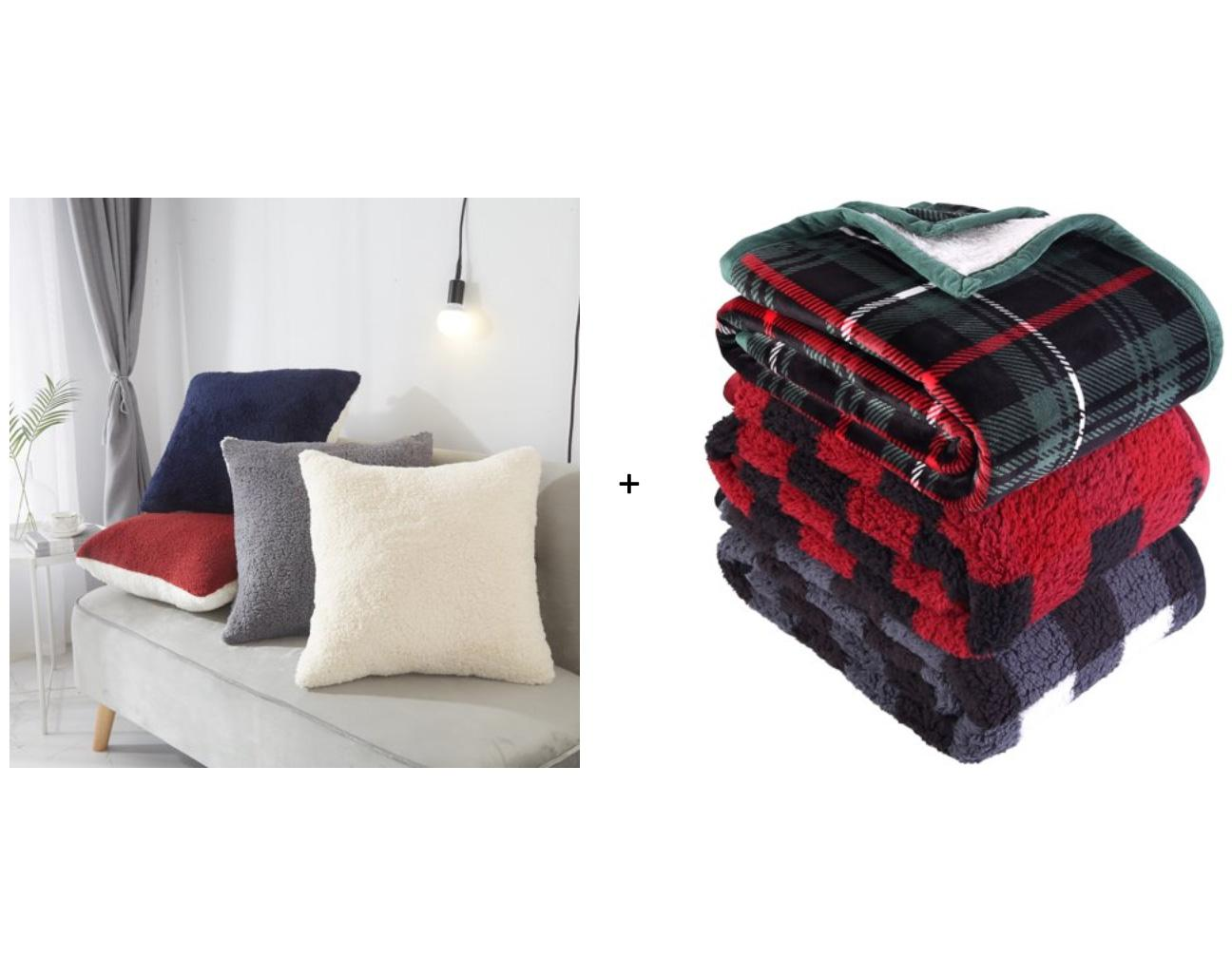 Sherpa Throw Blanket and Pillow for $12