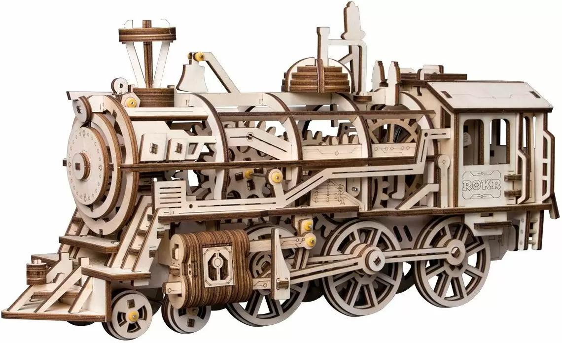 Robotime 3D Assembly Wooden Puzzle Laser-Cut Locomotive Kit for $27.49 Shipped
