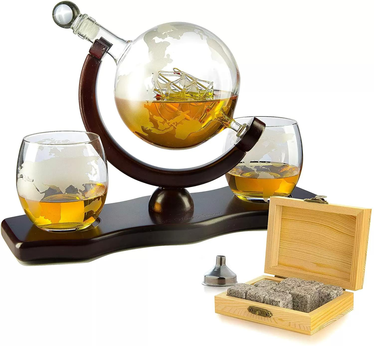 Whiskey Decanter Globe Set with 2 Etched Globe Whisky Glasses for $39.99 Shipped
