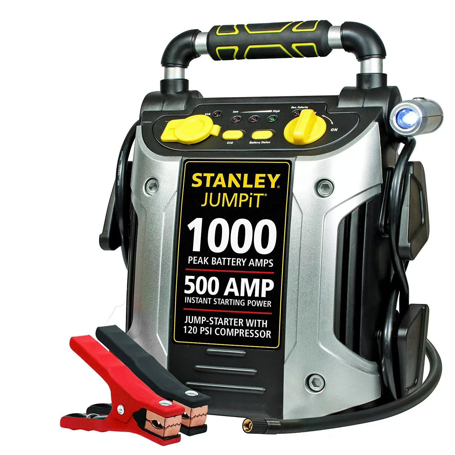 Stanley J5C09 1000 Amp Peak Jump Starter with Air Compressor for $47.09 Shipped