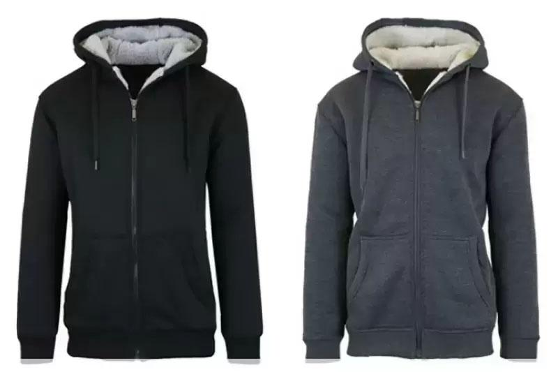 2 Mens Sherpa Lined Fleece Heavy Weight Hoodies for $23.99 Shipped
